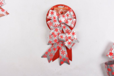 Hot Sale Handmade Decorative Christmas Bows New Year Painted Bow-knot Xmas Tree Hanging Ornaments