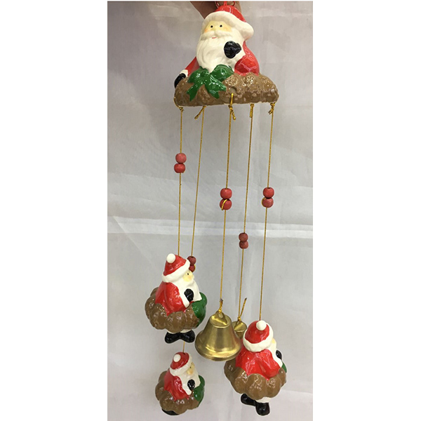 Hot Selling Christmas Ceramics Hanging Ornament Santa Pattern Home Decor Made In China