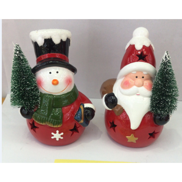 Hot Selling Decor Ceramic Led Lighted Porcelain Xmas Tree Santa Christmas Sculpture Ornaments