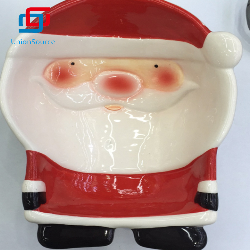 Lovely Christmas Santa Ceramics Plates Kids Dinner Useful Home Decoration