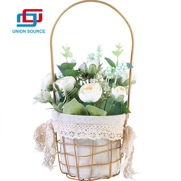 Lowest Price Gold Basket Tea Bud Potted Plants High Simulation For Home Decoration