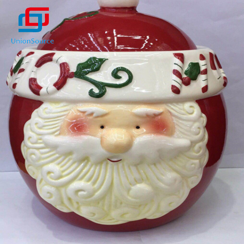 New Arrival China Xmas Santa Design Food Storage Jar With Lid Red Color Christmas Gift