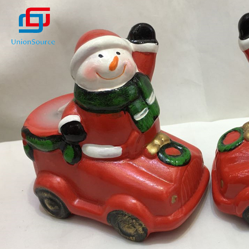New Design Car Pattern With Snowman Santa Xmas Ceramics Candle Party Warm Decor