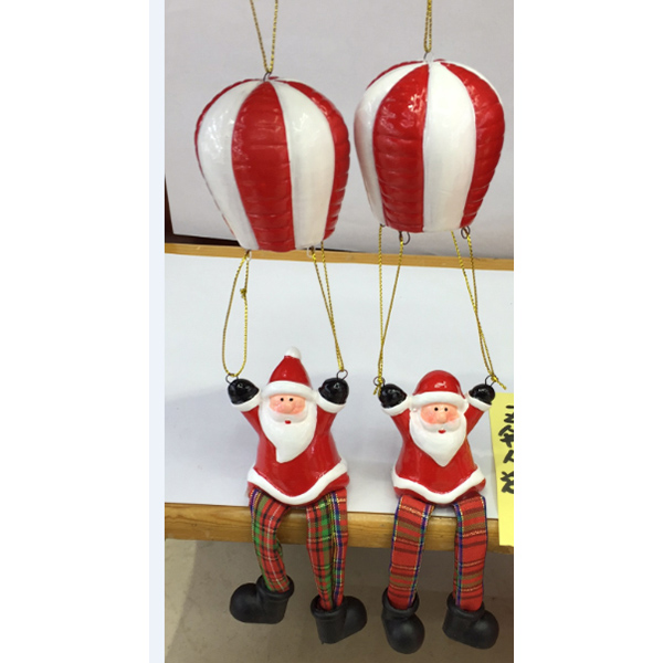 New Design Ceramics Colorful Balloon Hanging Decorations Santa Snowman Christmas Ornament