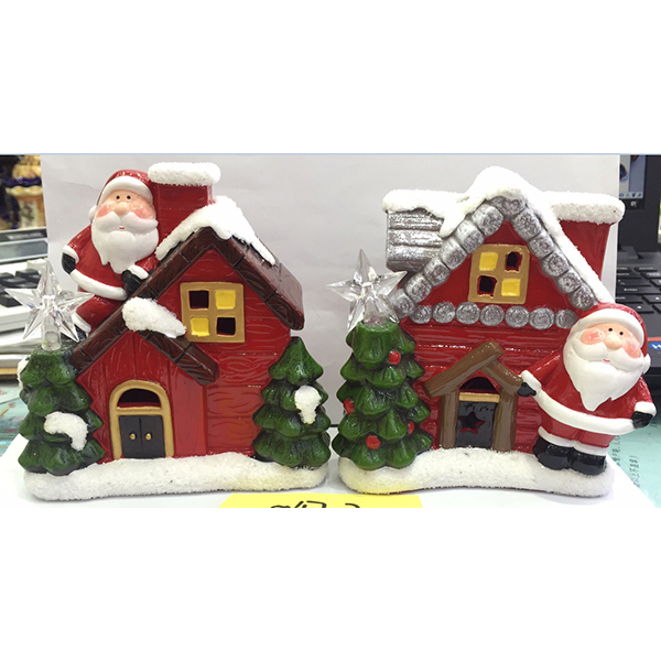 New Design House White Snow With Xmas Tree And Santa Christmas Decoration Ceramic Small Figurines