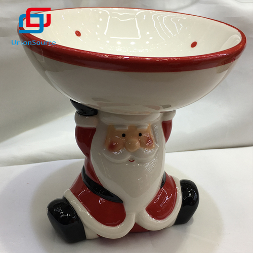 New Design Red Color Christmas Santa Ceramics Dessert Plate Made In China