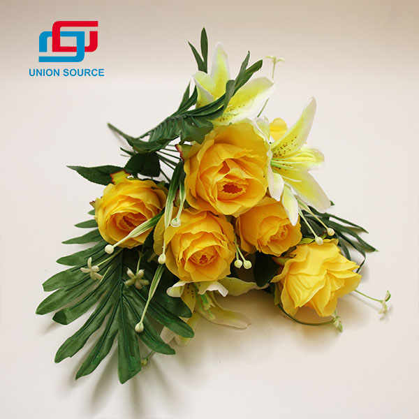 New Style Artificial Bouquet 12 Branches 5 Heads Lily And 7 Heads Rose Flowers For Home And Garden Decoration