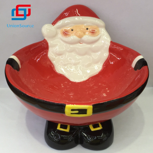 Newest Popular Bowl Ceramic With Christmas Santa Pattern Bowl Holiday Gifts Food Bowls
