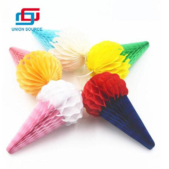 Decoración de fiesta de papel de bola de panal de helado de papel