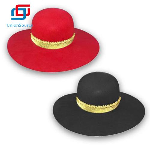 Party Red Black Color Wide Brim Felt Snap Brim Hats Jazz Fashion Women Panama Hat