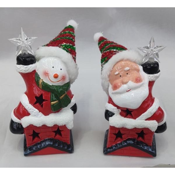 Premium Quality Ceramic Santa With Led Light Christmas Decoration Statue For Sale