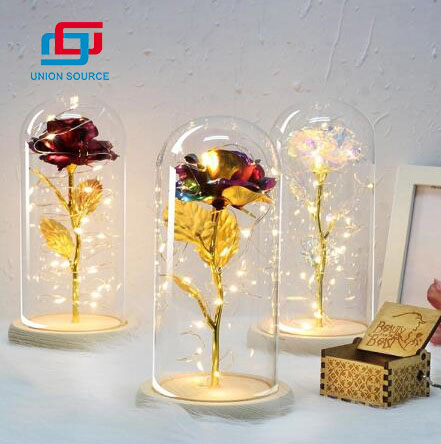 Lámpara de mesa Rose Lantern LED Night Light 3D Rose para el día de San Valentín
