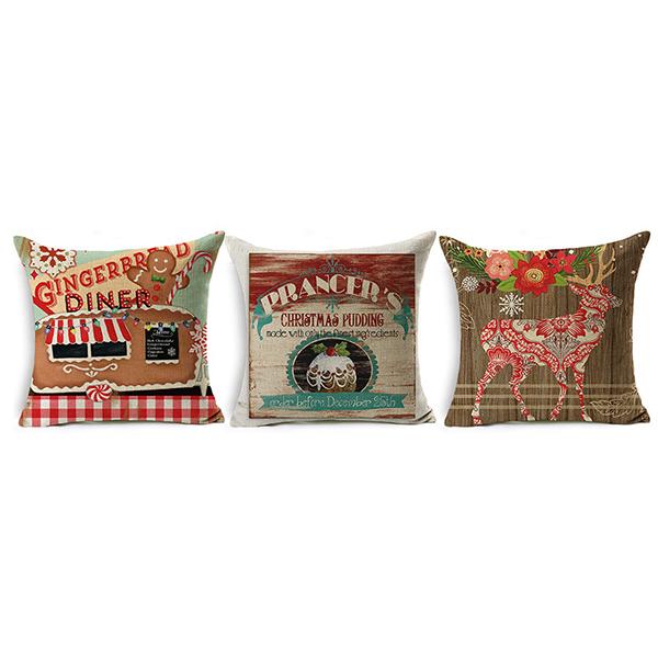 Santa Christmas And Elks Pattern Square Pillow Cushion Linen Soft Home Pillowcase Ornament a1