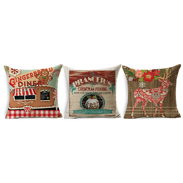 Santa Christmas And Elks Pattern Square Pillow Cushion Linen Soft Home Pillowcase Ornament