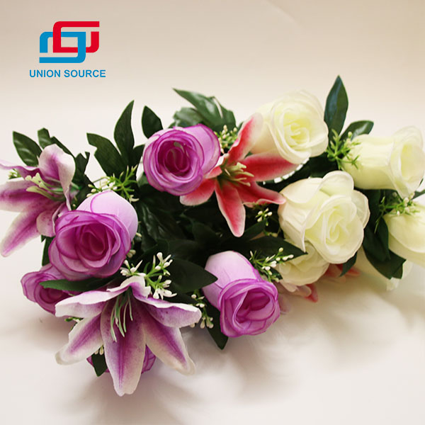 Simulation Bouquet 10 Branches 2 Heads Lily And 7 Heads Rose Flowers For Home And Garden Decoration