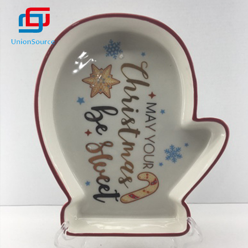 Supplier Christmas Bell Shape Irregular Plate  Home Decoration Tableware