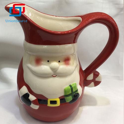 ຜູ້ສະ ໜອງ ນໍ້ານົມຂວດນົມ Santa Christmas Ceramic Santa ຕັ້ງຜະລິດຕະພັນເຮັດດ້ວຍແກ້ວ ສຳ ລັບເຮັດເຮືອນຄົວ