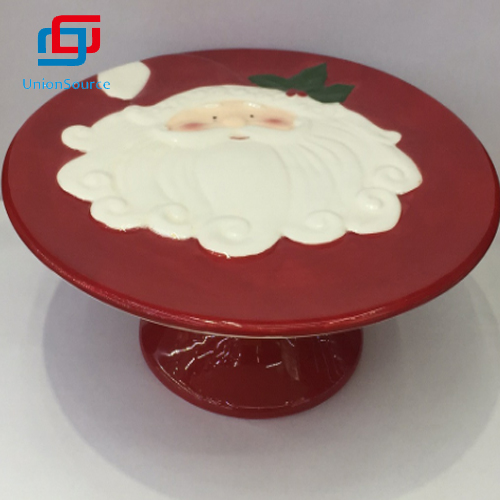 Supplier Christmas Santa Hand-painting Embossed Ceramics Dinner Plate Home Decoration