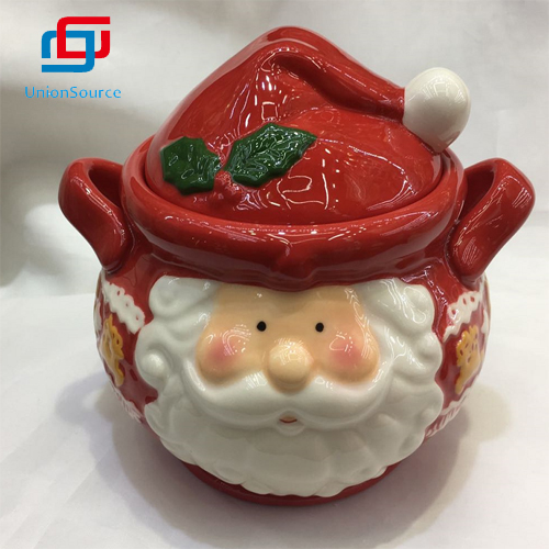 Supplier Custom 3D Ceramics Earthenware Santa Cookie Jar Food Container Best Christmas Gift For Sale