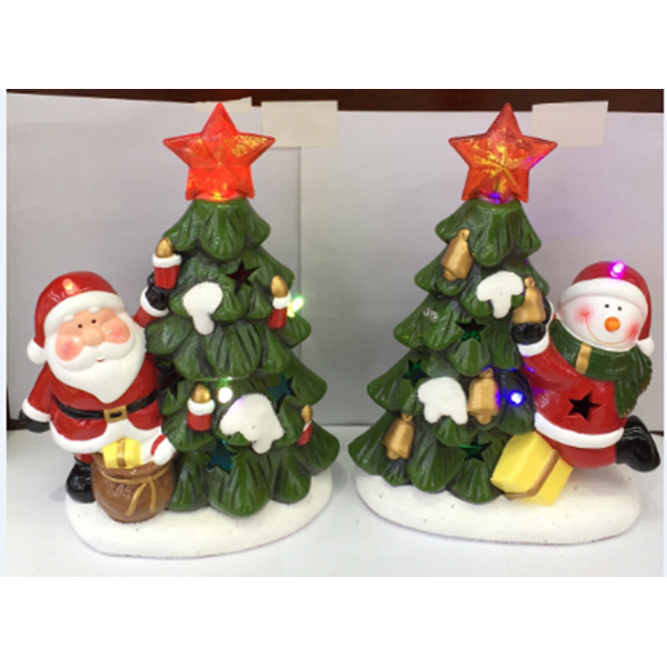 Supplier Xmas Ceramic Ornament Home Decor Small Figurines With Led Light
