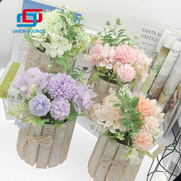 Plantas en macetas de hortensias de madera apenadas artificiales de venta superior para decoración del hogar
