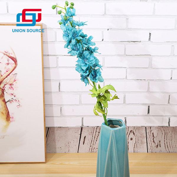 Flores artificiales de alta calidad del delphinium de varios colores de la venta superior para la decoración casera