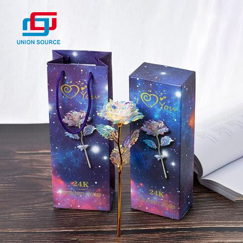 Regalo de San Valentín Rainbow Galaxy 24K Gold Rose