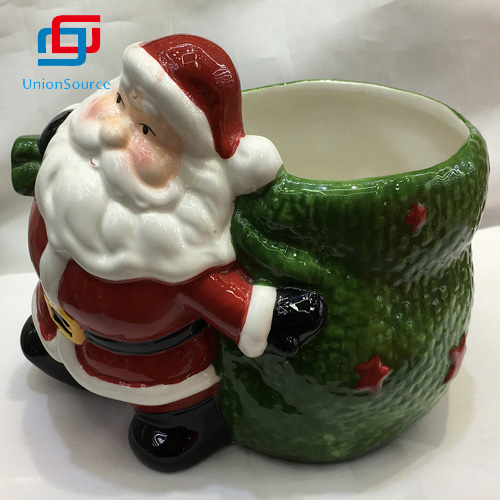 Wholesale Christmas 3D Santa Appearance Ceramics Flower Pot Home Decoration Plant Vase For