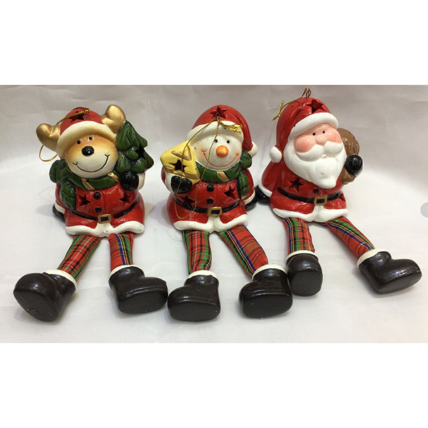 Wholesale Fabric Plush Santa With Legs Christmas Ceramics Decoration With Led Light Indoor Outdoor Hanging Ornament