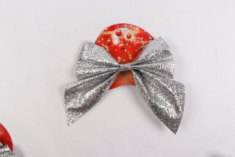 Wholesale Party Ribbon Sliver Bow Xmas Tree Ornament Red Christmas Bow-knot In Stock