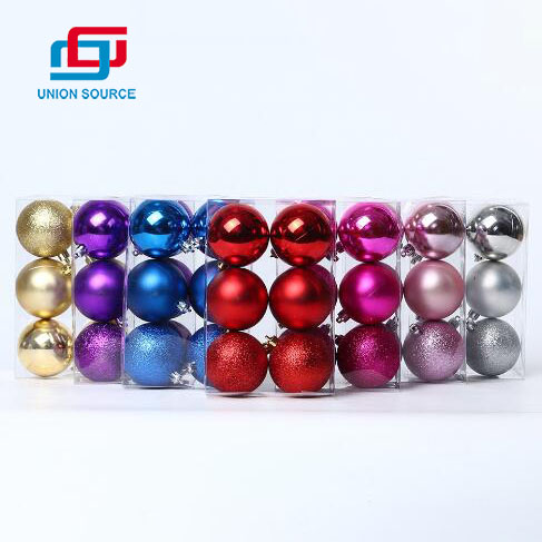 Wholesale Plastic Christmas Ball Ornaments 6pc/Set With Traditional Colors