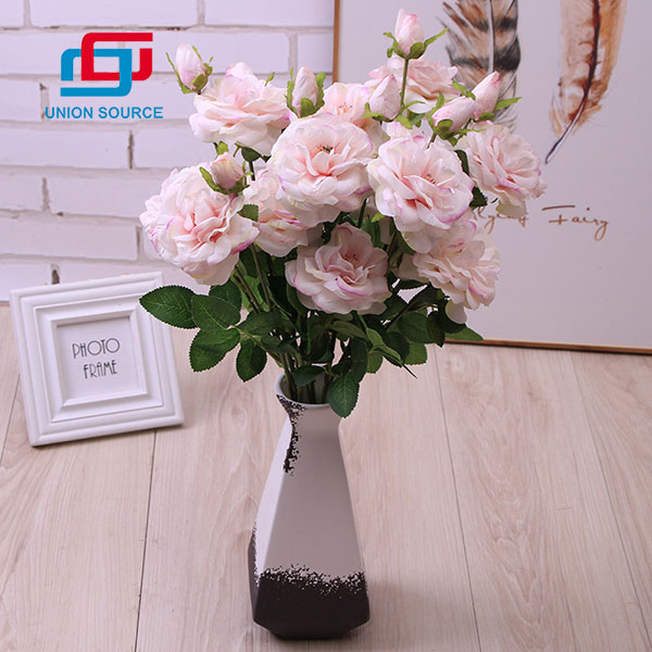 Wholesale Price Decorative High Simulation 3 Heads Rose Bouquet For Wedding And Home Decoration