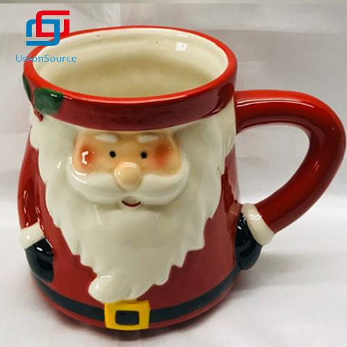 ແບບກາຕູນແບບ Xmas ແບບສ່ວນບຸກຄົນ Mug Porcelain Ceramic Christmas Cup Santa Pattern Ceramic Cup