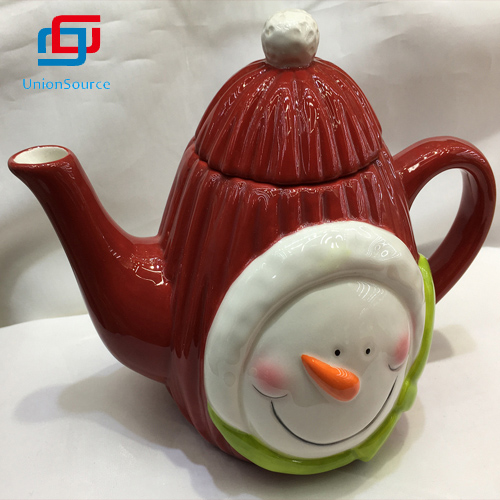 Xmas Ceramic Milk Jug  With Lid  Snowman Pattern Design Home Decor Red Color For Sale
