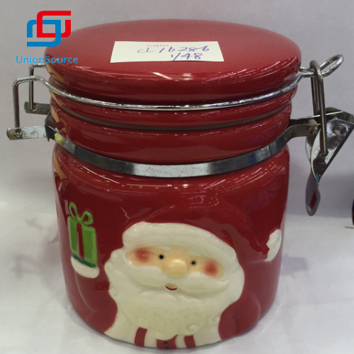 Xmas Red Color Food Container Jar Ceramic With Lid Sealed Jar