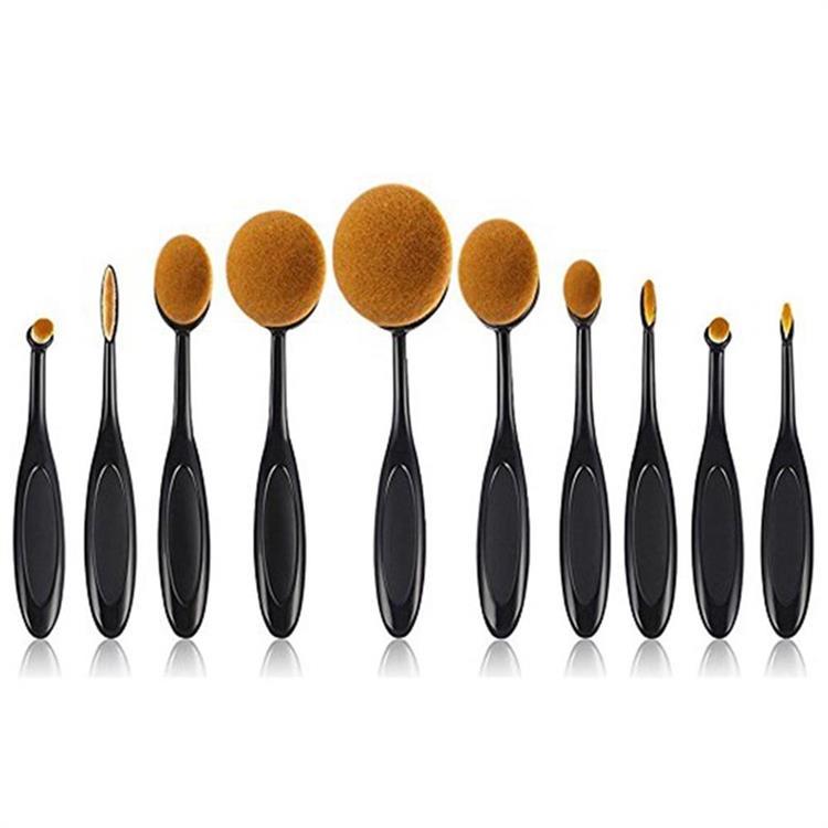 10STK Kosmetisk tandbørste Makeup børste Oval make up børster sæt