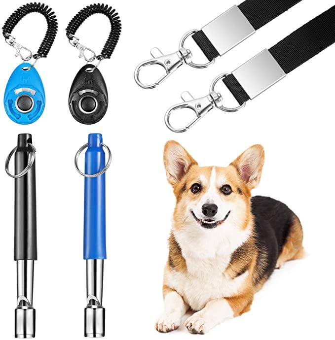 6бр. Регулируема свирка за обучение на кучета с комплект кликер