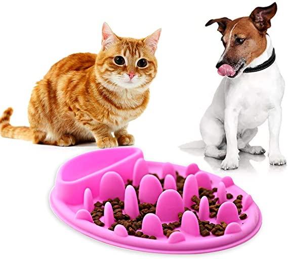 Anti chocking silikone kæledyr hund sjov langsom føder katte skål