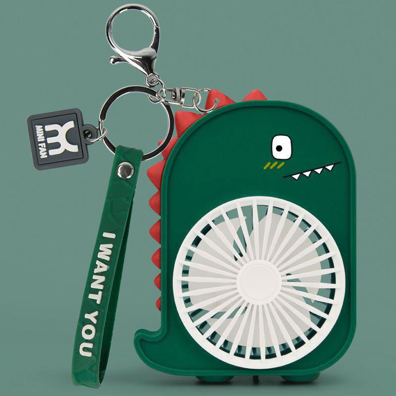 Cartoon Dinosaur Portable Mini Fan med nøglering