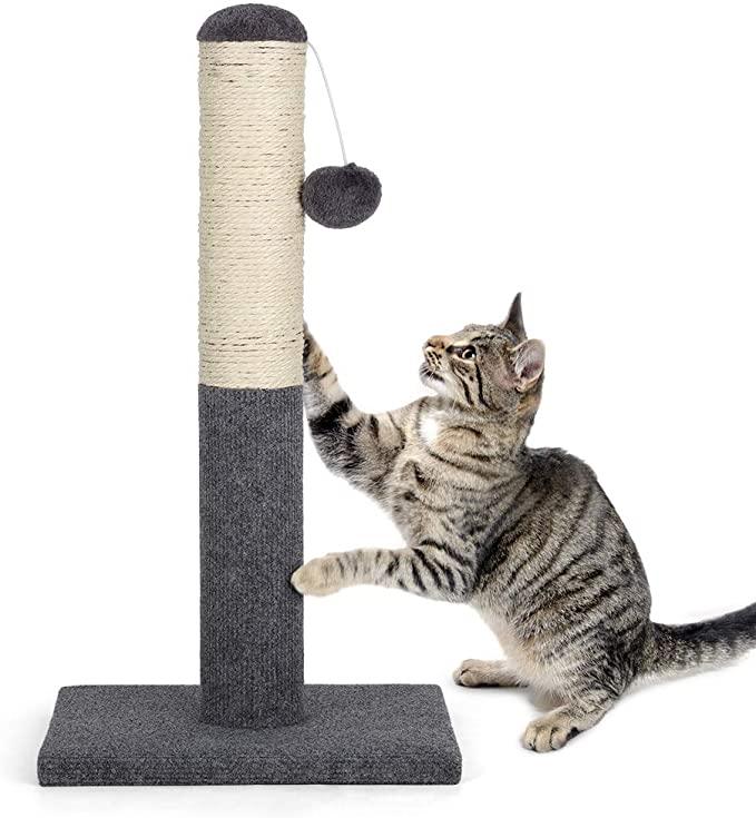 Poteau à chat durable en sisal Kitty avec boule suspendue