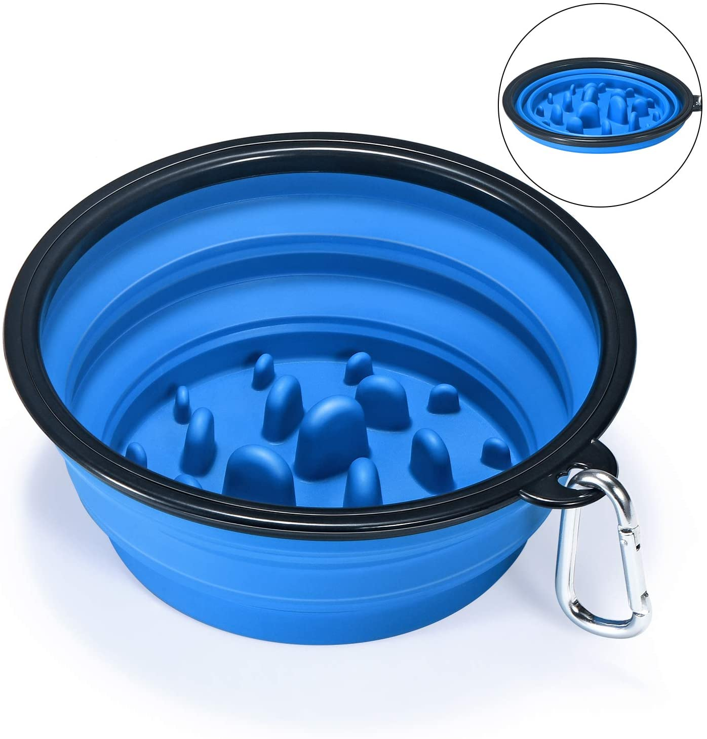 Φορητό Slow Feeder Travel Silicone Collapsible Dog Bowl