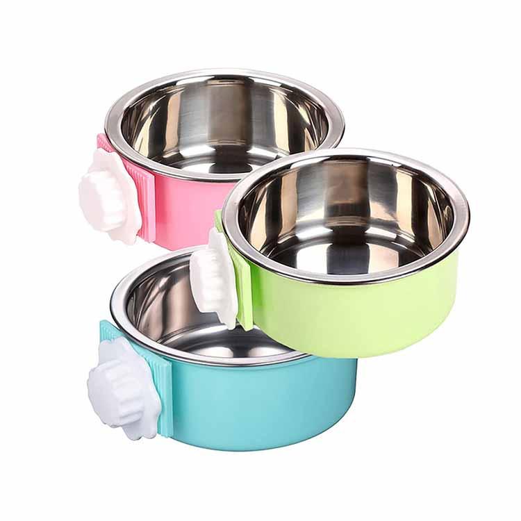 Αποσπώμενο πλαστικό από ανοξείδωτο χάλυβα Pet Dog Crate Food Water Bowl