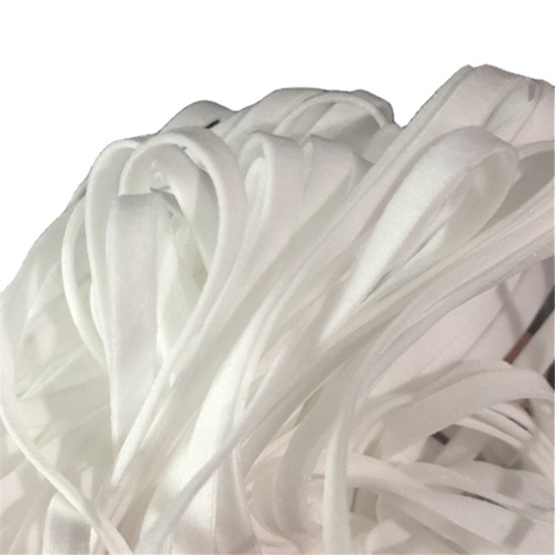 Factory white 3mm flat elastic earloop
