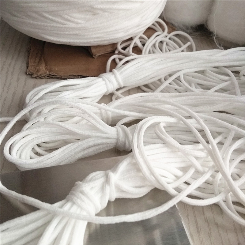Manufacturer 2.5mm 3mm round white round ear earloop elastic string for breathing mask