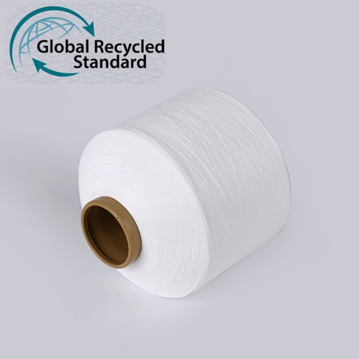 Manufacturer recycle recycled 100D dty textured polyester pet bottle filament yarn with grs certificate for knitting sock