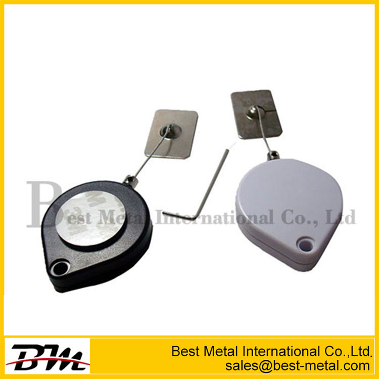 Heart-Shaped Cable Coiled Security Tether With With Square Glutinous Plate End