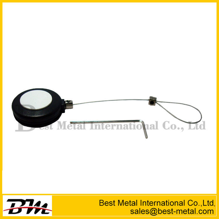 Round Anti-Theft Recoil Pull Box With Adjustable Wire Loop Lanyard