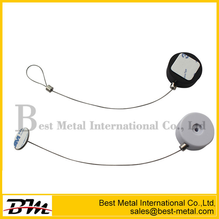Security Solutions Retractable Anti-Theft Cable Tether With Dia 38Mm Circular Sticky Metal Plate