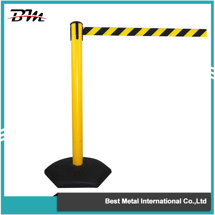 Post Belt Barrier with Black and Yellow Belt