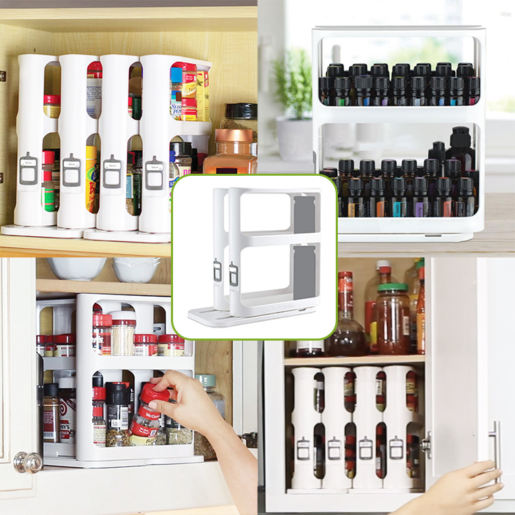 Pull-and-Rotate Spice Rack Organizer